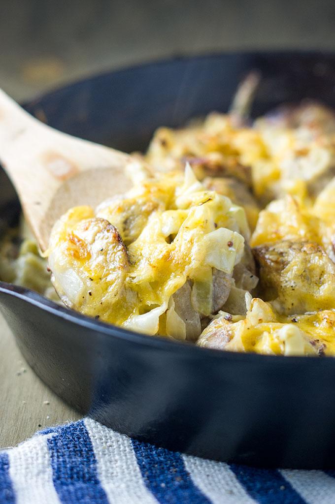 Chicken Sausage Cabbage Cheddar Skillet