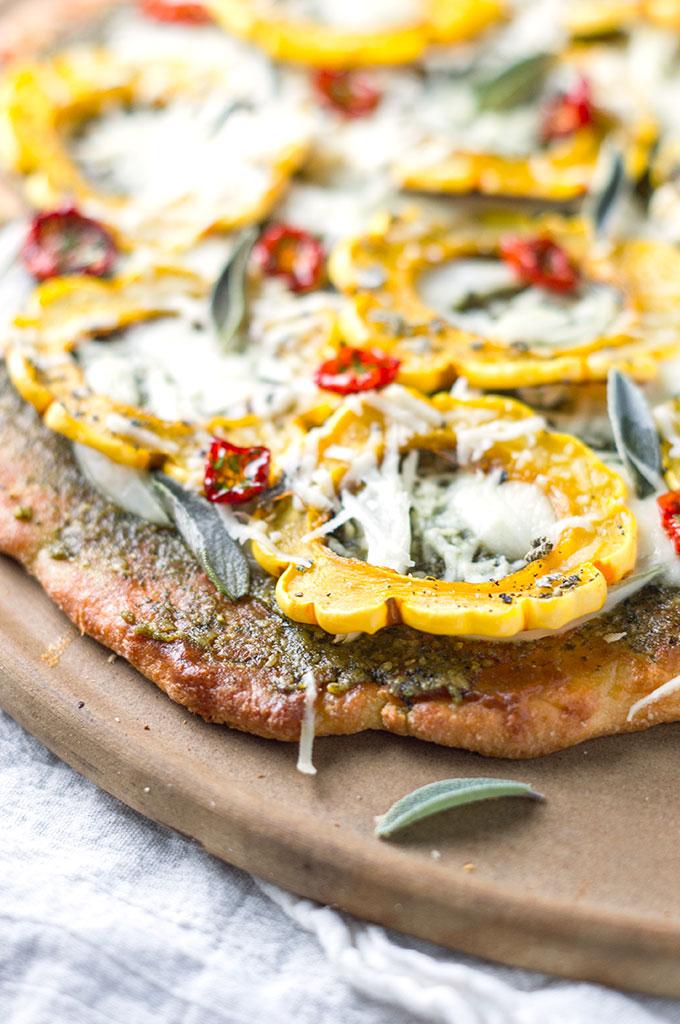 Delicata Flatbread with Fat Head Pizza Crust