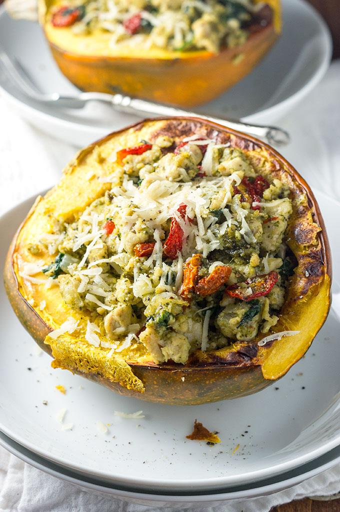 Turkey Pesto Stuffed Acorn Squash
