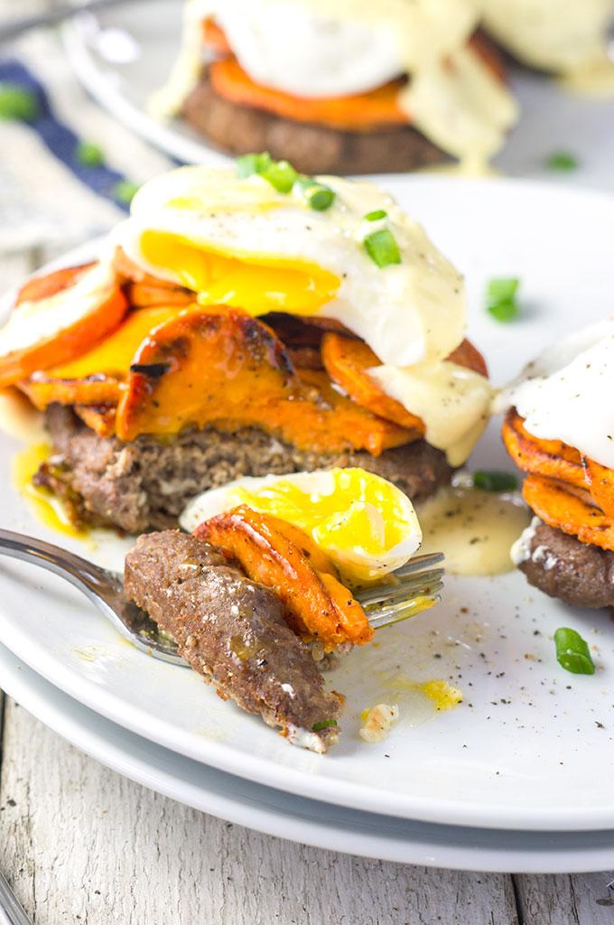 Sweet Potato Turkey Sausage Eggs Benedict