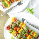 Pesto Turkey Meatball Kabobs