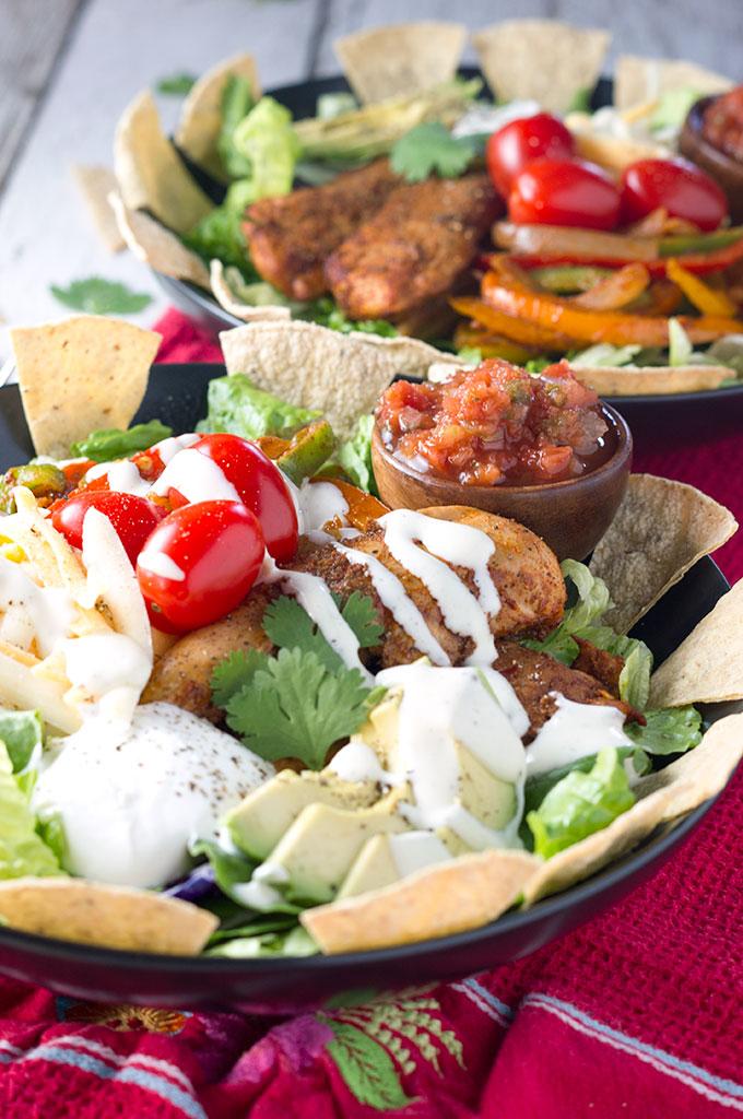 "Chicken ""Fajita Style"" Taco Salad"