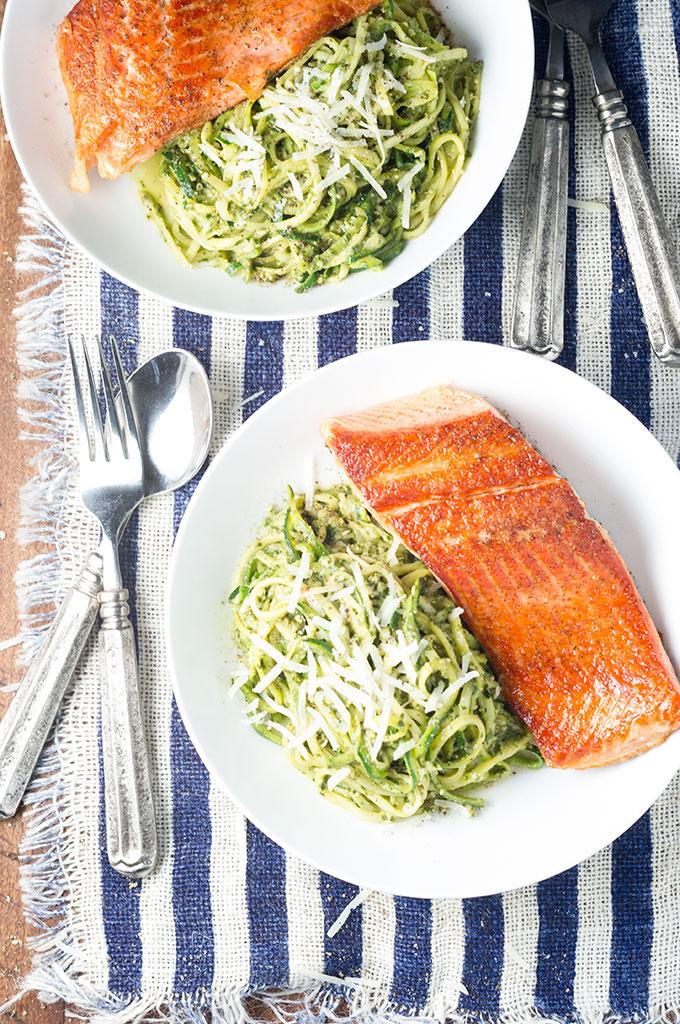 Pesto Zoodles with Pan-Seared Salmon
